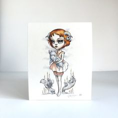 Aries Zodiac Girl signed 8x10 pop surrealism lowbrow от mabgraves