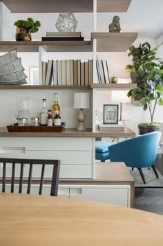 open shelves between living and dining