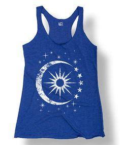Loving this Royal Blue Celestial Sun & Moon Racerback Tank on #zulily! #zulilyfinds