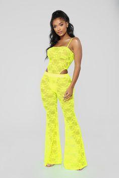 6bf2c3912fd39 Love Glow Lace Pant Set - Neon Yellow Black Lace Romper