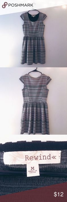 Rewind Beautiful Black and white print dress Gorgeous tribal print fit and flare, cap sleeve dress from Rewind in excellent condition. No major flaws, from a smoke and pet free home. rewind Dresses