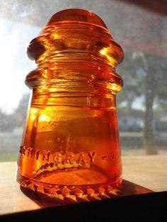 Beautiful Hemingray 9 Orange Amber  Glass Insulator