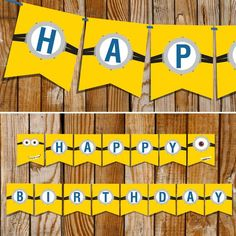 Minion Party_Full Banner layout at SunshineParties on #Etsy.....Happy Birthday! #MinionBanner #MinionBirthdayBanner: