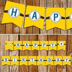 Minion Party_Full Banner layout at SunshineParties on #Etsy.....Happy Birthday! #MinionBanner #MinionBirthdayBanner:
