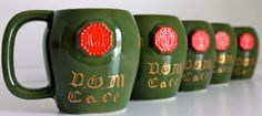 LIQUOR CUPS Vintage mugs Dom French Cup set Green cups