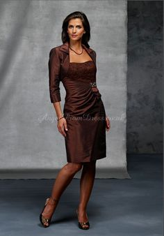 3/4 Length Sleeve Knee Length Column Taffeta With A Wrap Lace Strapless Mother Of The Bride Dress #mother #bride #dress