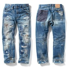 Repaired Denim <3, had a pair of old levis like this for years, someone is LOVin them now... should have never parted with them!