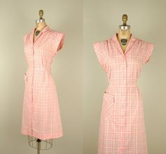 Such a cute, cheerfully pretty 1950s Pink Plaid Dress from etsy seller Dalena Vintage. #vintage #1950s #fashion #dresses