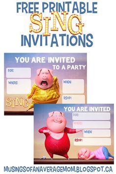 Free Printable Sing Movie Party Invitations