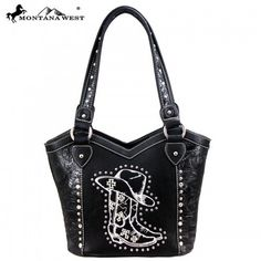 WESTERN COWGIRL COLLECTION HANDBAG - BLACK Black Handbags, Montana, Westerns, Purses, Collection, Products, Fashion, Black Purses, Handbags