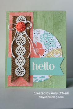 Stampin' Up! hardwood stamp, SAB 2014 Sweet Sorbet dsp, Delicate Details tape, Four You