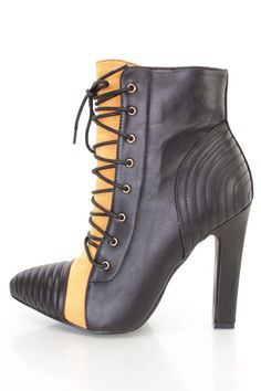 Yellow Lace Up Pointed Toe Ankle Booties Faux Leather
