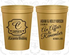 Monogram Stadium Cups, Monogram Cups, Monogram Wedding Cups, Monogram Cup, Monogrammed Plastic Cups, Monogrammed Cups (595)