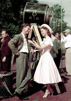 """Debbie Reynolds & Donald O'Connor on the set of """"I Love Melvin""""... I have not seen the film but I love the actors and this photo of old Hollywood."""