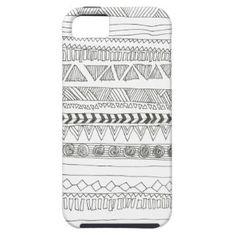 Aztekischer Schwarz-Weiß-Druck iPhone 5 Case
