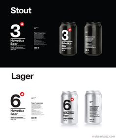 Helvetica Beer - Stout & Lager 12oz Cans