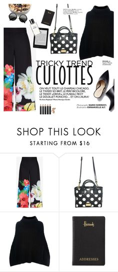 """Tricky Trend: Chic Culottes"" by punnky ❤ liked on Polyvore featuring Ted Baker, Dolce&Gabbana, Chanel, Harrods, Bobbi Brown Cosmetics, The Row, TrickyTrend and culottes"