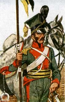 Uniform of Austrian Ulan Regiment No. 2 'Prince Schwarzenberg'.  During the napoleonic wars Austria started to recruit a squadron of Ulans from Galicia after the partition of Poland and later expanded it to Regimental size, 2 other regiments were soon to follow. until 1815 Austria had 4 Ulan regiments. Regimental distinction was the colour of the Czapka, in this case green.