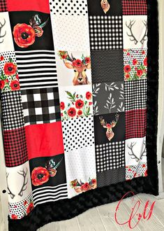 ***Options*** Please read carefully!! Deer in love faux quilt. You choose backing. Minky blankets are minky on both sides. Check shop info for turnaround time. Minky Baby blanket - Measures approximately 28x38 inches. Great for strollers, car seats, swaddling etc Minky Toddler/Crib - #babygifts