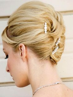 The most trendy wedding hair accesories and wedding hairstyles: Elegant Classic Bun Updos Hairstyles for Brides
