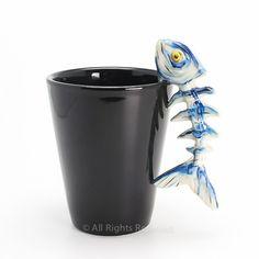 Barracudas Fish Skeleton Mug Coffee Cup Ceramic Handmade Painted Craft | madamepomm - Earth Friendly on ArtFire