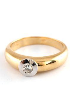 0.15ct Diamond Ring In White & Yellow Gold