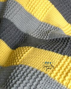 Gehäkelte grau gelb Babydecke MADE TO ORDER