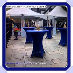 Navy spandex cocktail table covers