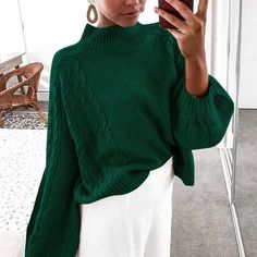 Women's Comfy Balloon Long Sleeve Pullover Top Mock Turtleneck Cable Knit Sweater Black S Baggy Sweaters, Cable Knit Sweaters, Pullover Sweaters, Sweaters For Women, Boho Sweaters, Crewneck Sweater, Cardigans, Knit Sweater Outfit, Loose Sweater