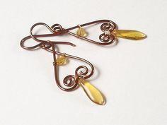 simple, beautiful copper wire earrings