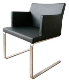 Soho Flat Arm Chair (Black Leatherette)