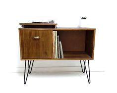 Vinyl Record Storage, Console Table, Mid Century Modern Table, Mid Century Cabinet, Sideboard, Vinyl Storage, Coffee Table, Media Console by VintageHouseCoruna on Etsy https://www.etsy.com/uk/listing/259726242/vinyl-record-storage-console-table-mid
