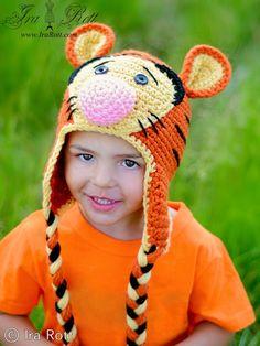 Handmade Crochet Safari Tiger Animal Hat: