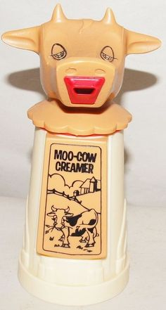 Vintage Moo-Cow Creamer WHIRLEY Industries Cow Dairy Plastic. 1960's. Someday I will own one of these again. haha. My Nana had one & my Mom.