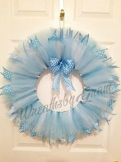 Blue tulle wreath, Nursery decor, Nursery wall decor, Baby shower decorations, Baby Boy, Baby gift, Tutu wreath, It's a Boy, Gender Reveal