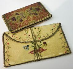 18th century silk embroidered wallet & notebook