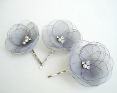 Pale Pink Flower Bridal Hair Clips Blush by GlamFloralBride