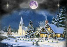christmas night snow wallpapers