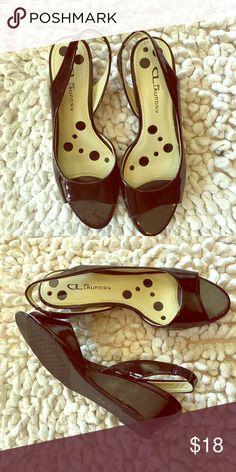 Designer low wedged heel sling backs CL by Laundry low heel wedge sling back... like new CL by Laundry Shoes Wedges