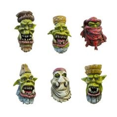 Set contains 12 resin Desert Nomads Orc Heads, 2 of each design, ideal for use with 28mm scale models. Supplied unpainted. This kit may requires assembly. Designed and sculpted by Marcin Szymański.Painted by Edwin