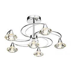Dar LUT0650 Luther 6 Light Crystal Ceiling Light Polished Chrome £128.50
