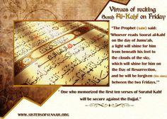 Virtues of reading surah Al-Kahf Surah Kahf, Al Kahf, Holy Quran, Hadith, Sayings, Reading, Islamic, Inspirational, Random