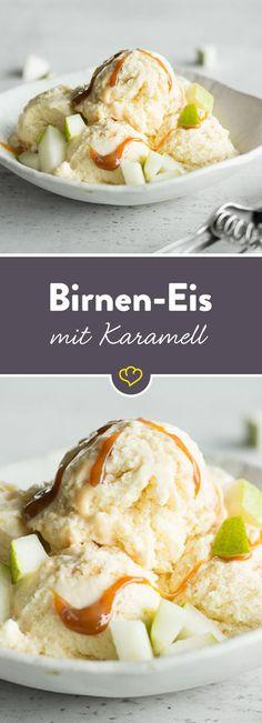 Die Süße des Karamells und das Fruchtige der Birne - dieses Eis schreit förmlich danach, vernascht zu werden - am besten direkt aus dem Becher.