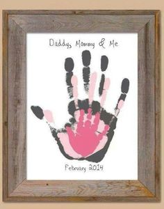 I want to do Daddy, Mommy, Bubby, and Me with a blue/green handprint for Landen