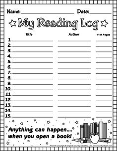 """1st Grade Reading Log Forms 