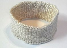 White Hand Spun #Wool Hand #Knit #Headband by @Joys AZPlace #ArtFire