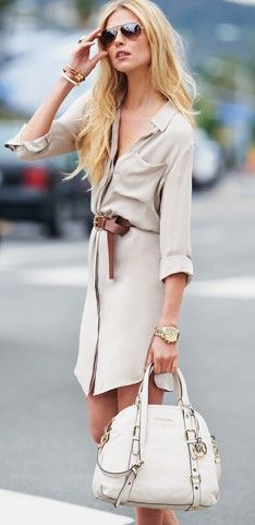 Simple neutral shirt dress..easy to throw on and look great and the MK bag just makes it that much better