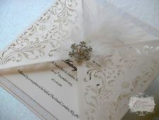 Handmade Couture Wedding Invitation Winter Crystal laser cut sample