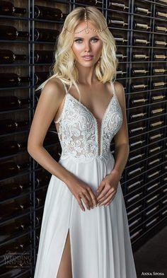 "anna sposa 2021 boho bridal sleeveless straps plunging sweetheart neckline embellished bodice a line wedding dress slit skirt chapel train (1) zv -- Anna Sposa 2021 ""Boho Bohemian"" Wedding Dresses 