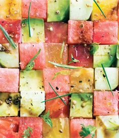 Celebrate Earth Day!  22 April 2013 ! Recipe for Tomato and Watermelon Salad - If the idea of tomatoes and watermelon together sounds odd to you, this dish will be a revelation. There is a saying that what grows together goes together, and in this case it is true.